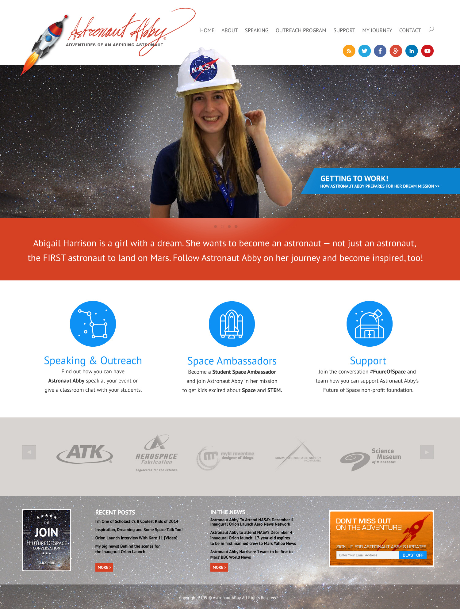 Astronaut Abby New Website Home Page Design