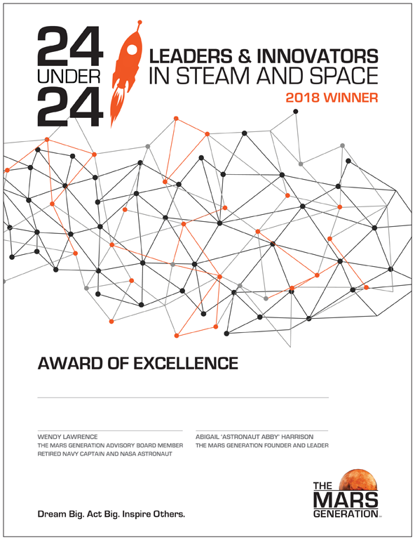 The Mars Generation 24 Under 24 Leaders and Innovators Award of Excellence