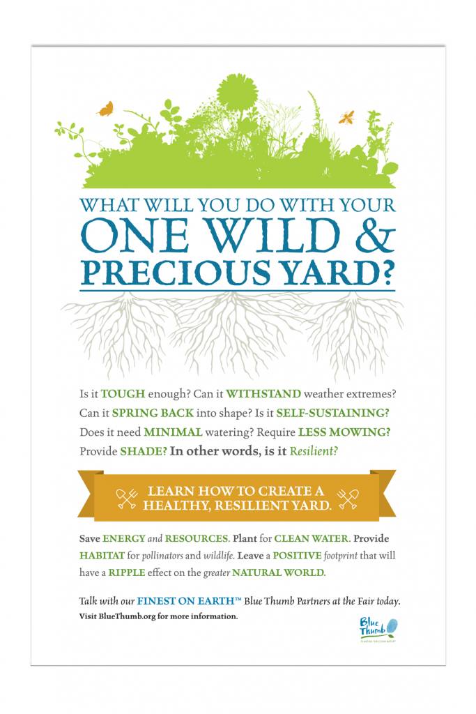 What Will You Do With YOur One Wild and Precious Yard? Blue Thumb State Fair 4x6 Banner