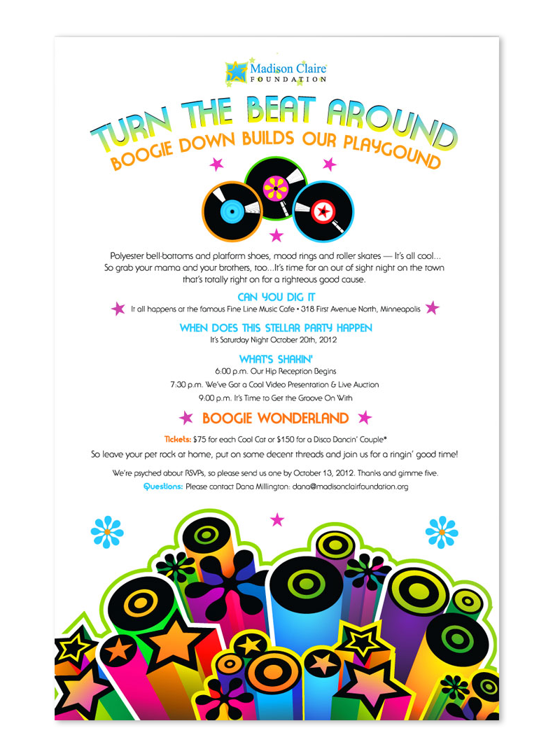 Disco Dance Save the Date postcard design
