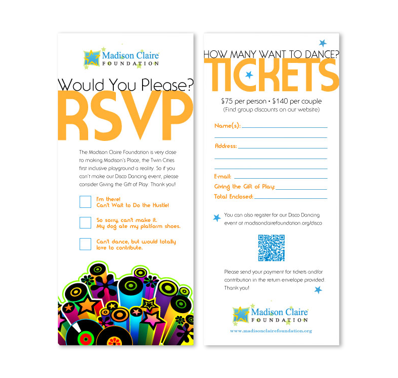 disco dance fundraiser rsvp two-sided card design