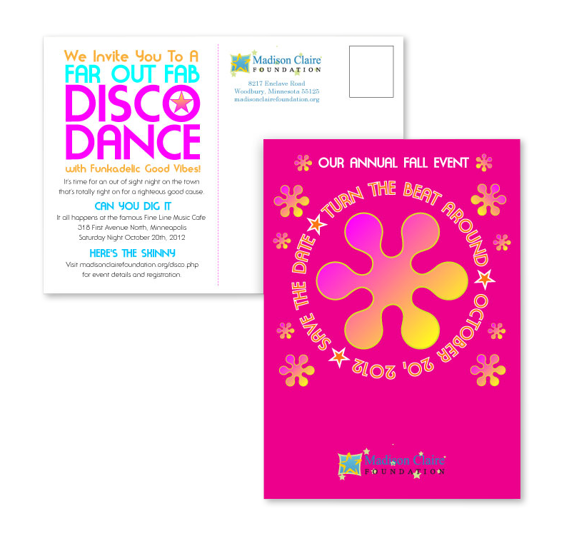 Foundation disco inspiried invitation mini-poster for fundraising event
